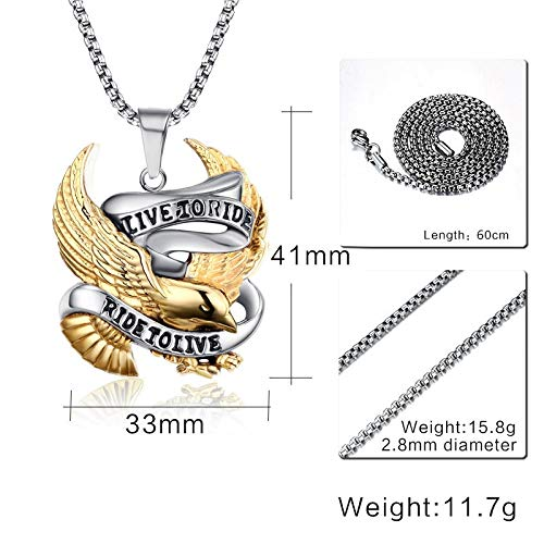 Davitu Eagle Pendant Necklace for Men Stainless Steel Metal Jewelry Live to Ride Necklace Biker Hero Necklace