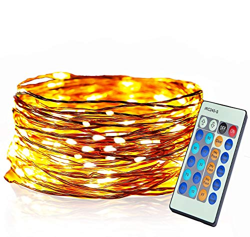 Aolun LED String Lights with Remote,Fairy Lights 33ft 100LEDs,Waterproof Decorative String Lights Outdoor&Indoor for Bedroom,Patio,Garden,Backyard,Party,Christmas-Warm White,Copper Wire Lights(New)