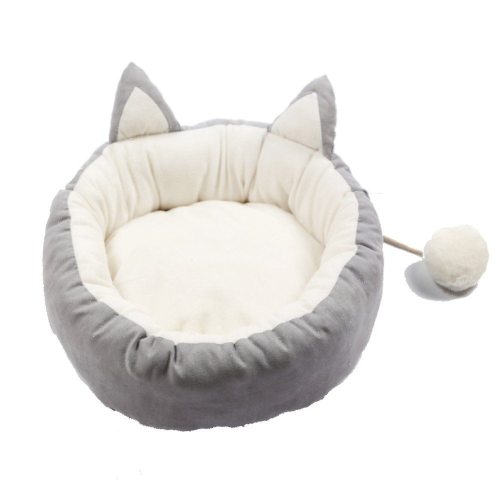 Grey Large Grey Large High Quality Short Plush Fabric Soft And Comfortable Cat Bed Removable Zipper Design Easy To Clean Pet Cat Dog Bed,Grey-L