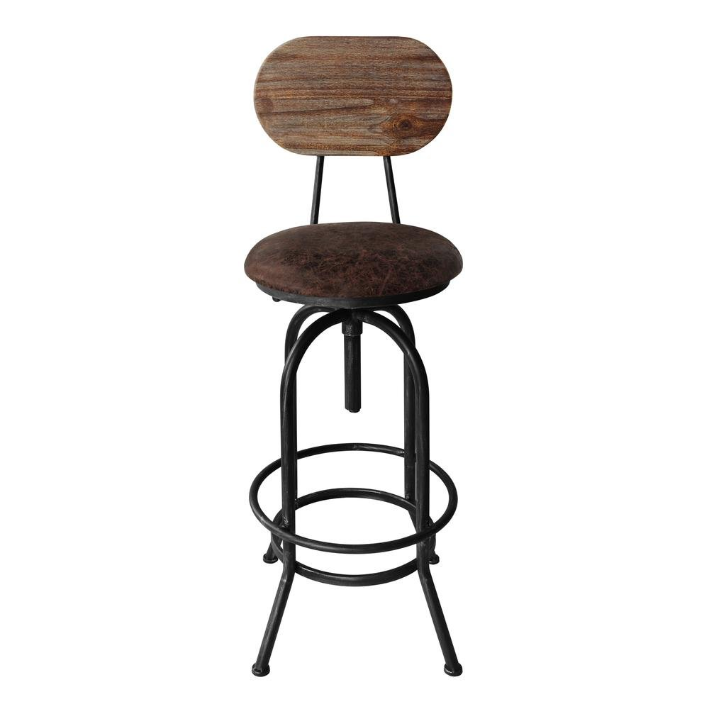 Today's Mentality Adele Industrial Adjustable Barstool Silver Brushed Gray with Brown Fabric Seat and Rustic Pine Back