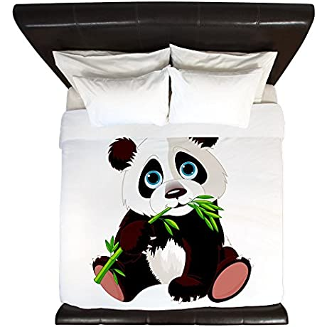 King Duvet Cover Cute Panda Bear Eating Bamboo