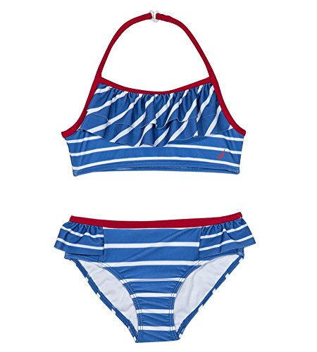 Nautica Girls' Fashion Bikini Swim Suit with UPF 50+ Sun Protection, Striped Royal Blue, 6