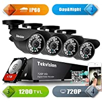 Tekvision H.264 AHD 8CH 1200TVL 720P HD DVR Security Surveillance Camera System Kit, IP66 Waterproof Day/Night IR-Cut with 4 Pack 720P NTSC CCTV Metal Bullet Cameras, 1TB HDD Drive Included