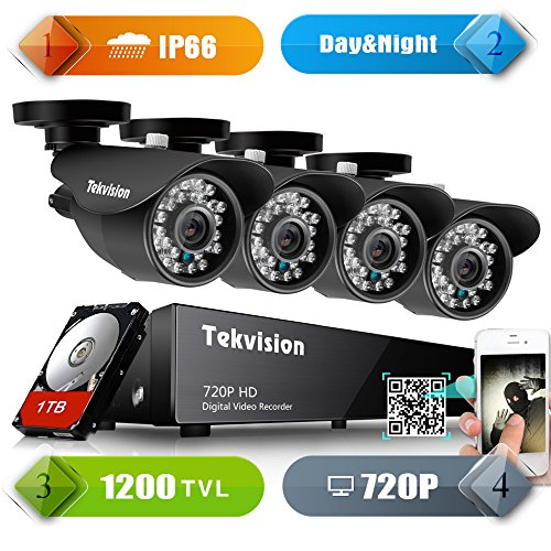 Tekvision H.264 AHD 8CH 1200TVL 720P HD DVR Security Surveillance Camera System Kit, IP66 Waterproof Day/Night IR-Cut with 4 Pack 720P NTSC CCTV Metal Bullet Cameras, 1TB HDD Drive Included Ntsc Video System