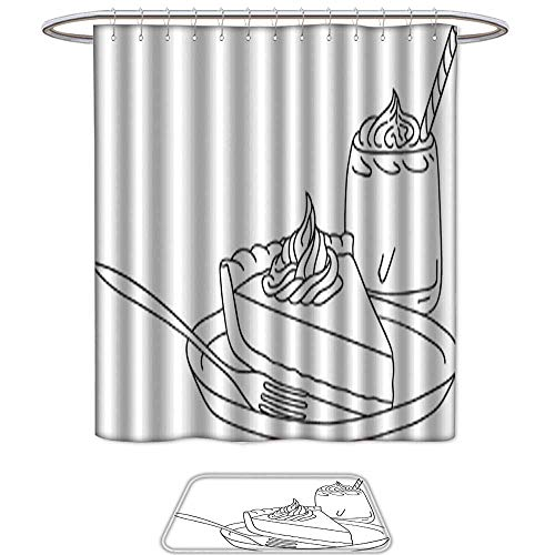 (Set of 2 shower Shower Curtain and Mat SetPumpkin Pie with Whipped Cream on Plate Fork Freehand Line art style Graphic Black Color Sketch Vector Illustration Thanksgiving Isolated Coloring Page)