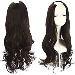"""SARLA 26"""" Long Loose Wave U part Half Wig Clip in Full Head Synthetic Hair Extension Hairpiece Hair Piece For Women Invisible None Lace Front Japan Kanekalon High Tempareture Fiber(UW09#Dark brown 6)"""