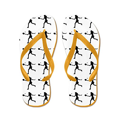CafePress Girls Tennis Silhouette or Icon Flip Flops - Flip Flops, Funny Thong Sandals, Beach Sandals Orange