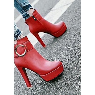 Heart Botines Moda Botas el Para Hebilla Tacón amp;M red Dedo Zapatos Otoño redondo Semicuero de Invierno Botas Mujer Tobillo Hasta Casual Stiletto rrv8qU6