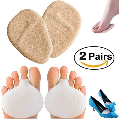 Medical Gel Forefoot Shoe Insole Metatarsal Pads Ball of Foot Cushions for Women High Heels to Pain Relief, Shoe Inserts for Women & Men 2 Pairs (4 Pieces)