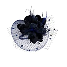 MonkeyJack Lady Flower Fascinator Hat Hair Band Cocktail Wedding Party Headpiece - Navy blue