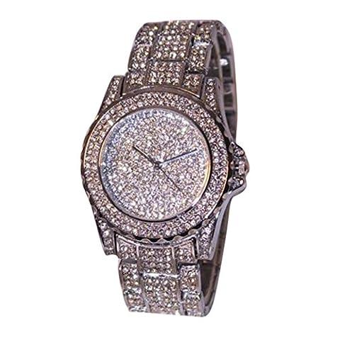 DEESEE(TM)Luxury women watches rhinestone ceramic crystal Quartz watches Lady Dress Watch (30mm Watch Face Protector)