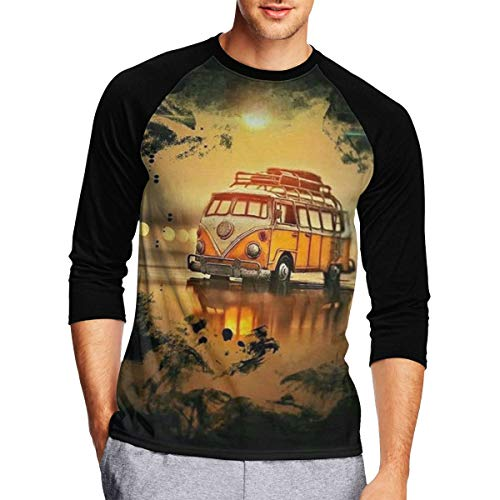 Travel Bus Mens Baseball Raglan T Shirts, 3/4 Sleeves Casual Athletic Baseball Jersey - Bus T-shirt Black