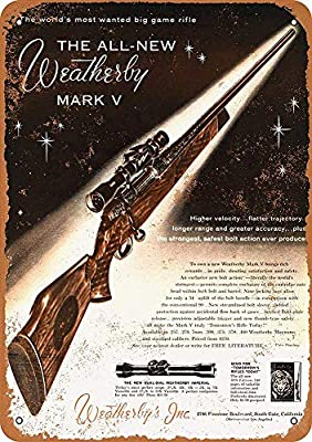 BORJOR Weatherby Mark V Rifles -Cartel de Pared estaño Placa ...