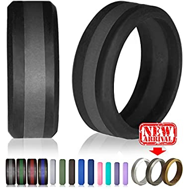 Silicone Wedding Ring by Knot Theory (Black / Slate Grey Line, Size 10.5-11) ★8mm Band for Superior Comfort, Style, and Safety