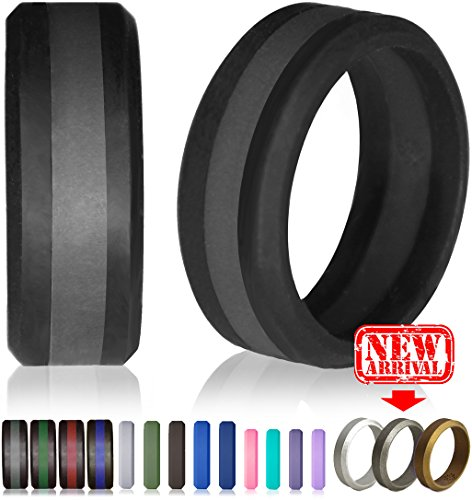Knot Theory Silicone Wedding Ring for Men and Women, Size 11.5~12 (WIDER 8mm Bandwidth), Black / Slate Grey Line