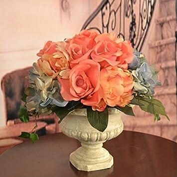 Amazon peach rose and blue hydrangea silk flower bouquet home peach rose and blue hydrangea silk flower bouquet mightylinksfo Images