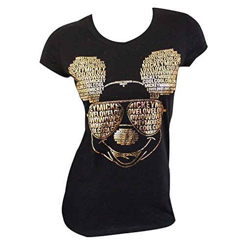 Disney Mickey Mouse Adult Text with Glasses Womens Fashion Junior Cut Fashion T shirt, Black (large) by Jerry Leigh