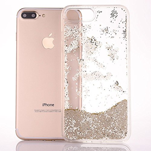 Bead Liquid - iPhone 7Plus Case, JUSTFINE iPhone 7Plus TPU Frame + Hard Plastic Back Case Fluid Floating Champagne Gold Beads Quicksand Liquid Cover with Sparkling Glitter Diamond Bumper for iPhone 7Plus