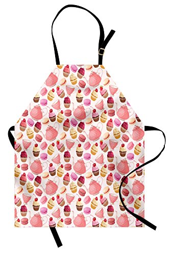 Lunarable Kitchen Apron, Teaparty with Cupcakes Macarons Teapot and Cups Cherries Berries Polka Dots, Unisex Kitchen Bib Apron with Adjustable Neck for Cooking Baking Gardening, Pink Cream Brown