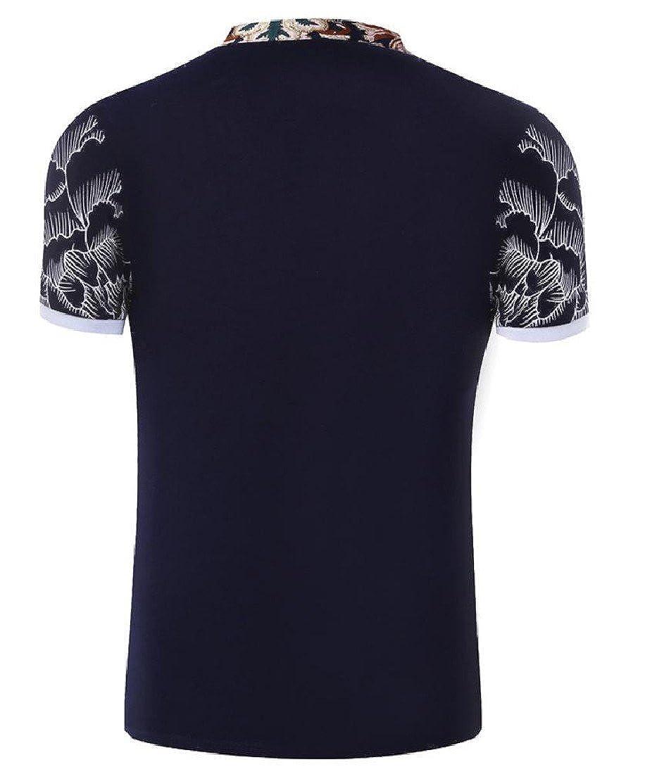Honey GD Mens Slim Button Down Floral Print Short-Sleeve Polo Shirt