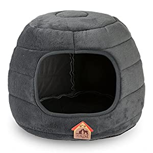 Hollypet 16×16×12.5 inches Coral Velvet Self-Warming 2 in 1 Foldable Cave Shape High Elastic Foam Pet Cat Bed for Cats and Small Dogs, Dark Gray