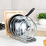 Pot Lid Holder Organizer Rack Stainless Drying Drainer Storage Holder Kitchen Cabinet for Cutting Boards/Pan / Lid/Plate