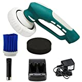 FINE DRAGON Electric Car Polisher Automatic Rotary Car Waxer Shine Set Automobile Polishers and Buffers Kit with Replacement Brush Head and Rechargeable Battery - Blue