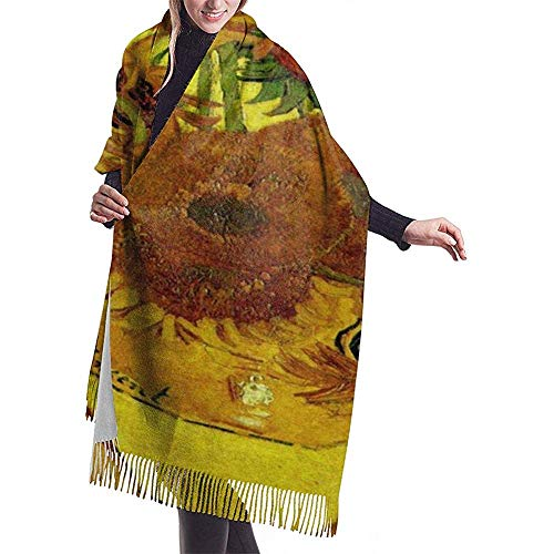Elaine-Shop Bufanda para mujer Pintura al oleo Girasol Clasico Borla Bufanda a cuadros Otono e invierno Bufanda ca