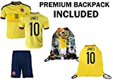 JerzeHero Columbia James #10 Kids Youth 3 in 1 Soccer Gift Set ✓ Soccer Jersey ✓ Shorts ✓ Drawstring Bag ✓ Home or Away ✓ Short Sleeve or Long Sleeve (YS 6-8 yrs, Home Short Sleeve)