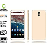 Indigi NEW 2018 GSM Unlocked 4G LTE Android 6.0 Marshmallow 5.6 Smartphone [Quad-CORE 1.2GHz + 2SIM + Fingerprint] - White/Gold