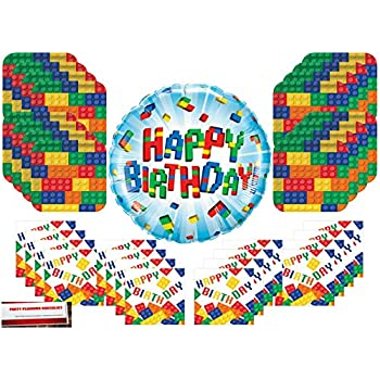 Building Blocks Birthday Party Supply Bundle Includes Dinner Plates Dessert Plates Serves 16 Creative Converting H/&PC-65559 Happy Birthday Napkins and Hot//Cold Cups