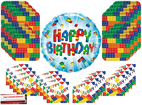 building blocks Birthday Party Supplies Bundle Pack for 16 with 18 Inch Balloon (Plus Party Planning Checklist by Mikes Super Store)