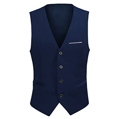 Gilet Formale da Uomo Slim Fit Vintage Classic Business Suit da Cerimonia Vest Casual Top Senza Maniche Scollo a V Gilet