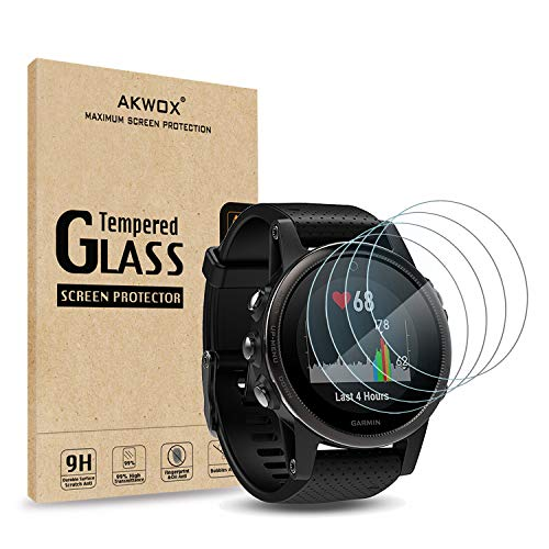 AKWOX (Pack of 4) Tempered Glass Screen Protector for Garmin Fenix 5S [0.3mm 2.5D High Definition 9H] Premium Clear Screen Protective Film for Garmin Fenix 5S