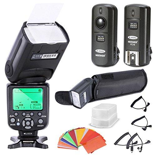 Neewer® Triopo E-TTL CANON I-TTL NIKON Professionelle Blitzgerät Flash Speedlite für Canon and Nikon Digital SLR Kameras *High Speed Sync* Rebel SL1 XT Xti Xsi T1i T2i T3i T4i T5i XS T3i EOS 5D Mark II 2 III 3 1Ds 6D 7D 60D 50D 40D 30D 300D 100D 350D 400D 450D 500D 550D 600D 650D 700D 1000D 1100D ; Für Nikon D4S D4 D3S D800 D700 D80 D90 D7000 D7100 D50 D40X D60 D5000 D5100 D5200 D5300 D40 D3000 D3100 D3200 D3300,Das Set beinhaltet: (1) TR988 Blitzgerät + (1) Hart Blitz Diffusor + (1) 3-in-1 2.4GHz Funk Auslöser + (1)35 stk Blitz Farbfilters + (1) Blitz-Schutztasche +(4) Kabel(C1-Cord + C3-Cord + N1-Cord + N3-Cord)