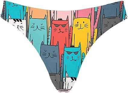INTERESTPRINT Womens High Cut Low Waist Thong Underwear Briefs Kawaii Rainbow Unicorn Among The Stars