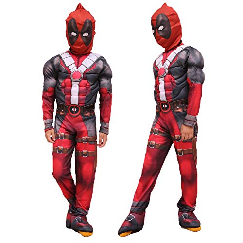White Set Deadpool Costume for Kids,Deluxe Child Boys Costume Cosplay Outfits 3D Style Costumes