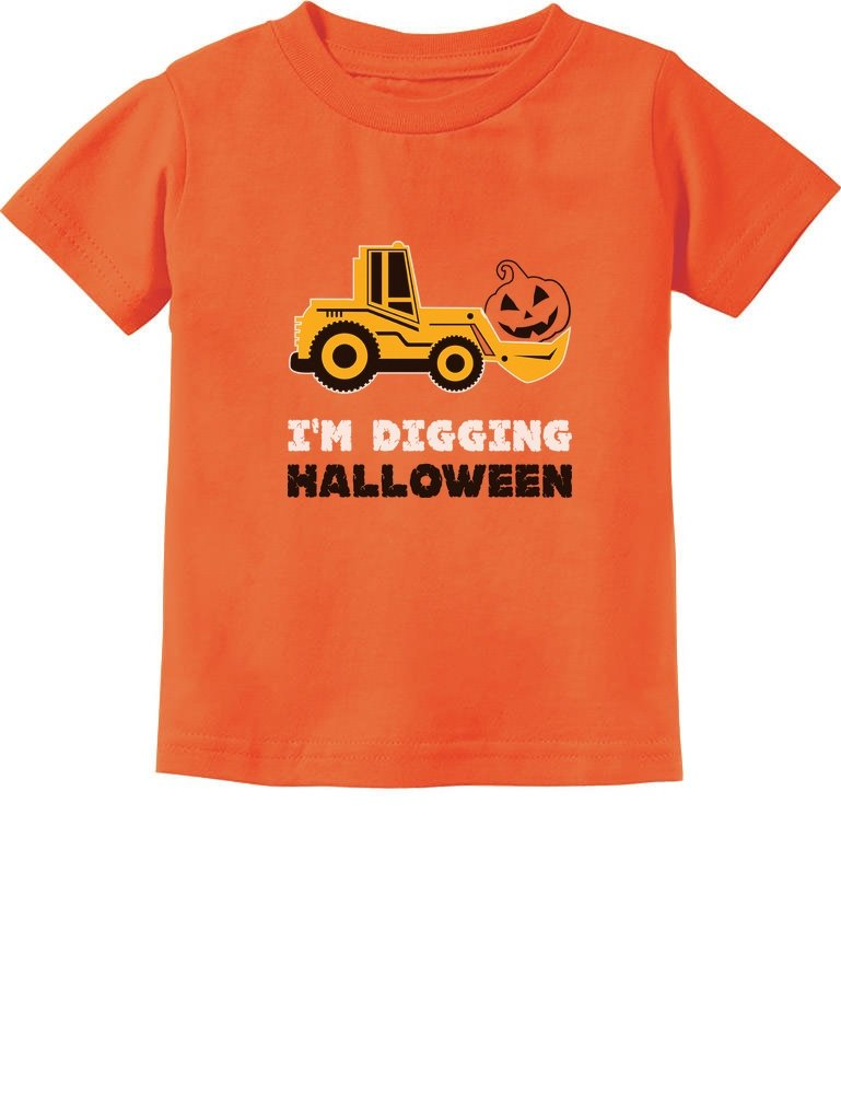 Pumpkin Face Tractor I'm Digging Halloween Cute Toddler Kids T-Shirt GMPll0Pgm5