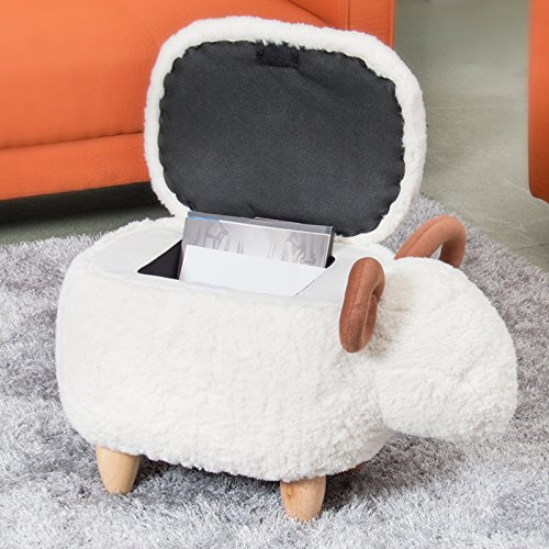 Upholstered Ride-on Storage Ottoman Footrest Stool with Vivid Adorable Animal-Like Features (Sheep) (Wood Footrest)