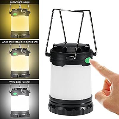 Hillmax 4 Pack LED Camping Lantern with White Light,Warm Light and Mixture Portable Outdoor Lights Operated by Batteries for Camping, Hiking, Fishing and Emergency, Hurricane, Power Outage