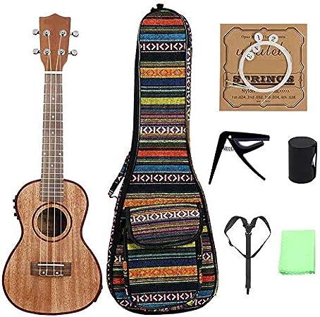 MELLRO Guitarra Junior Clásica Bolsa/Cuerdas/Capo/Correa/Dedo de Martillo con Bolsa de 24 Pulgadas de Madera de Color Electroacústica Ukulele Kit de iniciación Completo para Principiantes de g