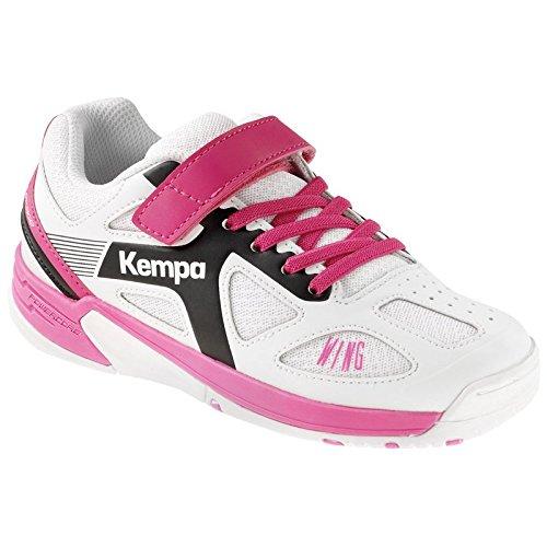 Kempa Wing Zapatillas de Balonmano, Unisex Niños, Blanco / Negro / Rosa (Fucsia), 28