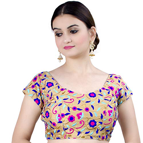 (Chandrakala Women's Designer Bollywood Readymade MultiGold Indian Ethnic Saree Blouse Padded Brocade Choli-Small (B124MUL2))