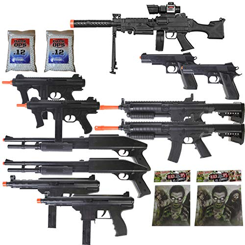 11 Airsoft Gun P2338 Sniper Rifle Package + Shotguns + Pistol + Tec9 SMG + Targets -