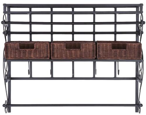 Southern Enterprises Wall Mount Craft Storage Rack - Rattan Baskets - Black Metal Frame & Expresso Finish by Southern Enterprises
