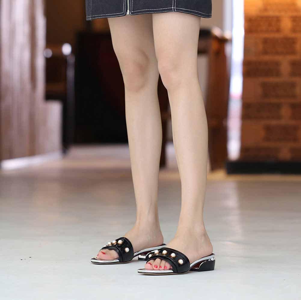 Mujeres Mujeres Mujeres Open Toe Mules 2018 Verano Fashion Pearl Sandalias Pequeñas Zapatillas Frescas Tamaño 33-44 (Color : Negro, Tamaño : 39 EU) 563ea6