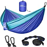 Forbidden Road Hammock Double Camping Portable Parachute Hammock for Outdoor Hiking Travel Backpacking - 210D Nylon Taffeta Hammock Swing - Support 660lbs (Double - Purple & Blue)