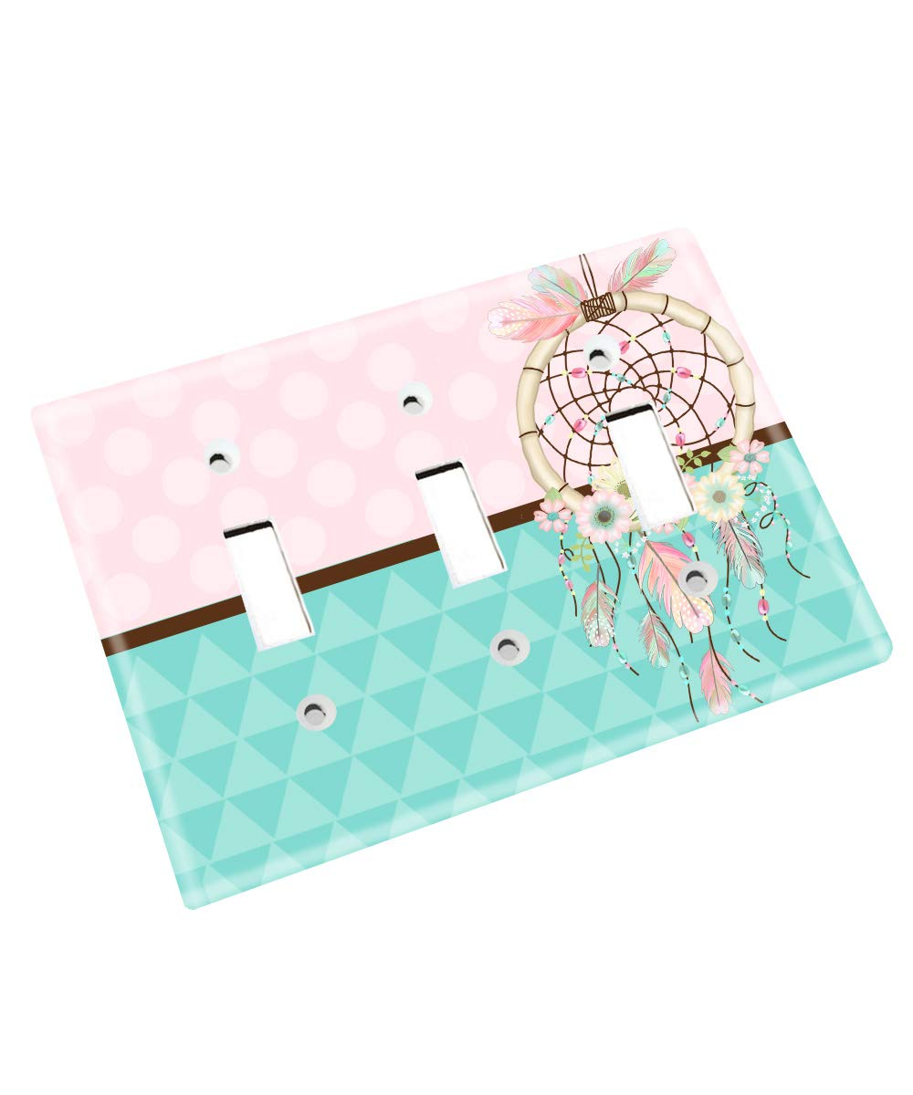 Pink and Turquoise Feather Dream Catcher Nursery Bedroom Light Switch Cover LS0104 (Triple Standard)