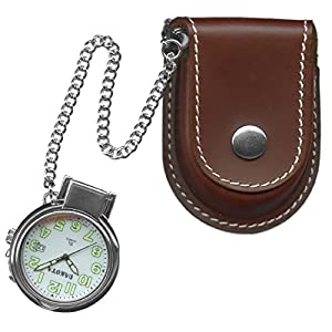 Dakota Leather Pouch Pocket Watch w/ Magnifying Lens