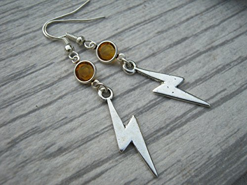 Lightning Birthstone Earrings, Personalized Lightning Bolt Earrings, Weather